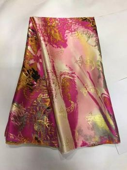 5 Yards/pc Beautiful colorful silk lace fabric with gold silk embroidery african velvet lace for dress JS4-1