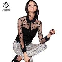 Excellent 2015 Woman Clothes Fashion Long Sleeve Retro Mesh Transparent Chiffon Polka Dot Shirt Blouse T55223