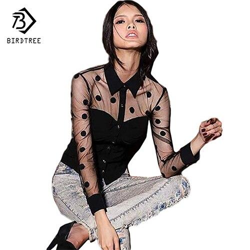 Plus Size XXL Vrouw Kleding Herfst Mode Vrouwelijke lange mouw Retro Mesh Transparante Chiffon Polka Dot Lace Shirt Blouse Zwart