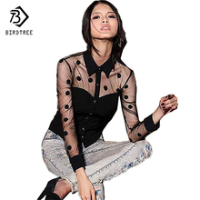 Plus Size XXL Woman Clothes Fall Fashion Female Long Sleeve Retro Mesh Transparent Chiffon Polka Dot Lace Shirt Blouse Black