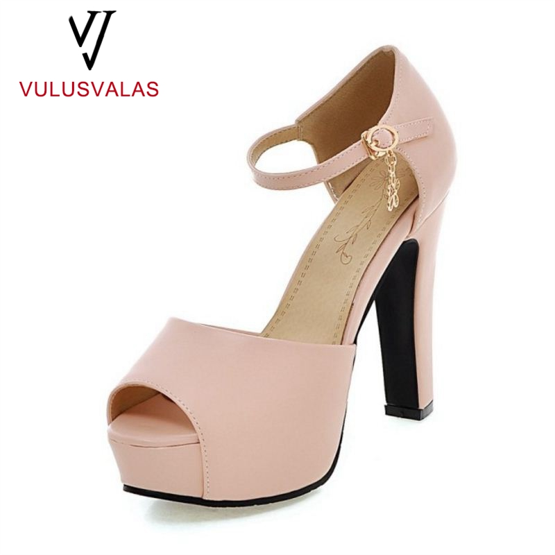 df6460dd3d5179 VulusValas Size 34-43 4 Colors Peep Toe High Heels Sandals Metal Flower Buckle  Platform Shoes Dating Footwear