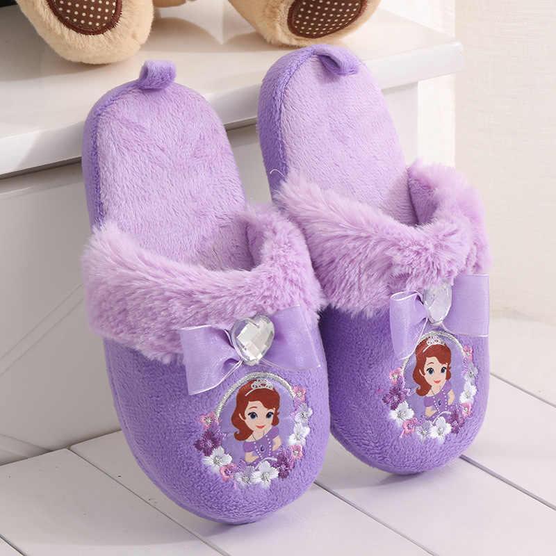 2017 אופנה ילדי הליכון ילדי חורף נעלי בית נעלי בית נעלי בית רכים כפכפים חמים נעל שטוחה אנה אלזה