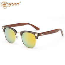 High fashion women sunglasses handmade wooden temples sun glasses brand designer coating sunglass for woman 1520