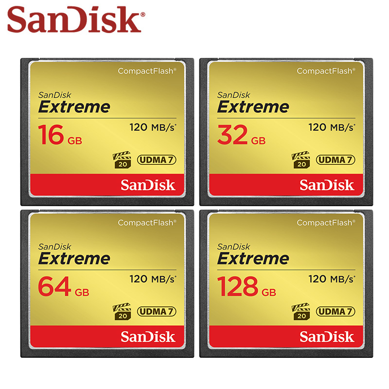100% Original Sandisk Extreme Memory Card Capacity 16GB 32GB 64GB 128GB Waterproof CF Card High Speed 120MB/S For HD Cameras