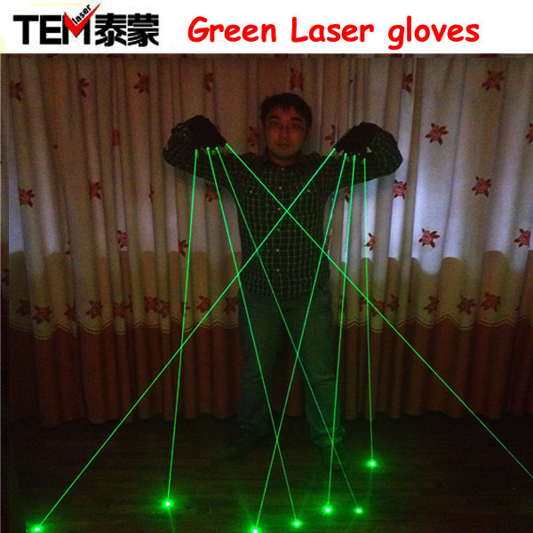Gratis frakt Green Laser Gloves Med 4 stk 532nm Laser, LED Stage Gloves Lysende Hansker For DJ Club / Fest Show