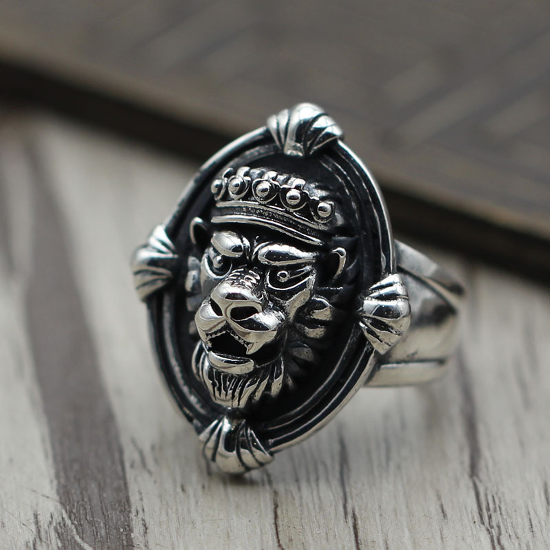 S925 Vintage Sterling Silver Jewelry Ring Silver Lion personality open men and women to do the old domineering wide ring цена