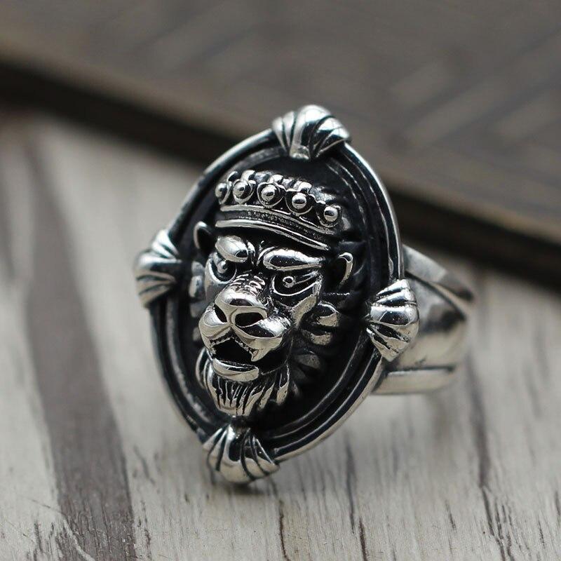 S925 Vintage bijoux en argent Sterling bague en argent Lion personnalité ouverte hommes et femmes pour faire l'ancien domineering large anneau