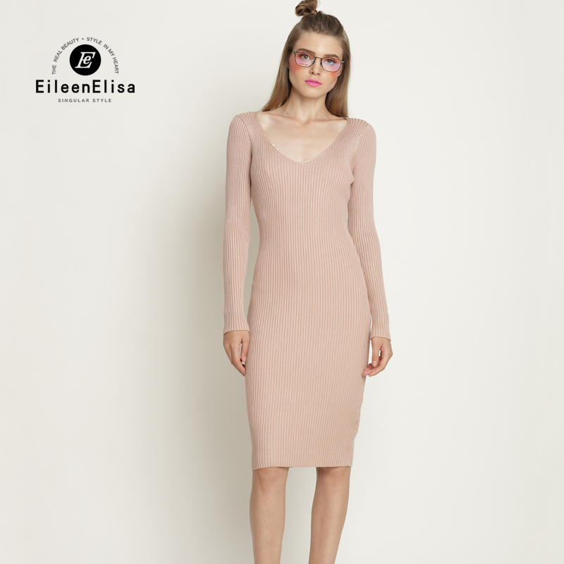 Eileen Elisa Knitted Sweater Dresses Women 2017 Winter Sexy Solid Color Women Ladies Long Sleeve Bodycon Dress Sweater V-neck 2018 ladies women casual knitted dress sexy strap slip sleeveless v neck solid home bottoming straight sweater dress
