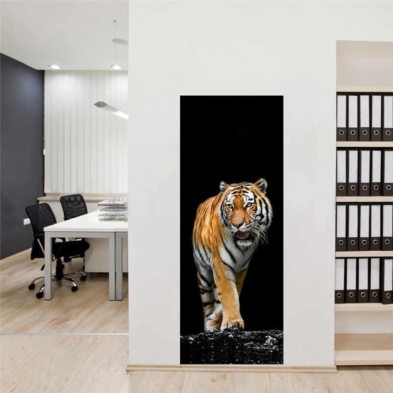 ドアステッカーウォールステッカーキッチンラウンジ家の装飾の壁画虎ドアステッカーワードローブデスクトップ Pvc 壁アート