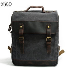 Men Women Canvas Retro rucksack backpack Laptop Vintage Military Oilskin Leather Shoulder Travel Bag Personalised Schoolbag