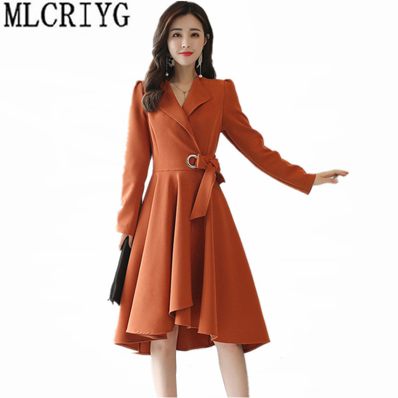 2019 Elegant Long Trench Coat for Women Spring Autumn Outerwear Slim Women's Windbreaker Skirt Shape Coats With Belt YQ105