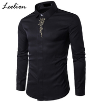 LeeLion 2017 Autumn Embroidery Shirt Men Fashion Solid Long Sleeve Slim Fit Cotton Dress Shirts Casual Brand Camisa Masculina