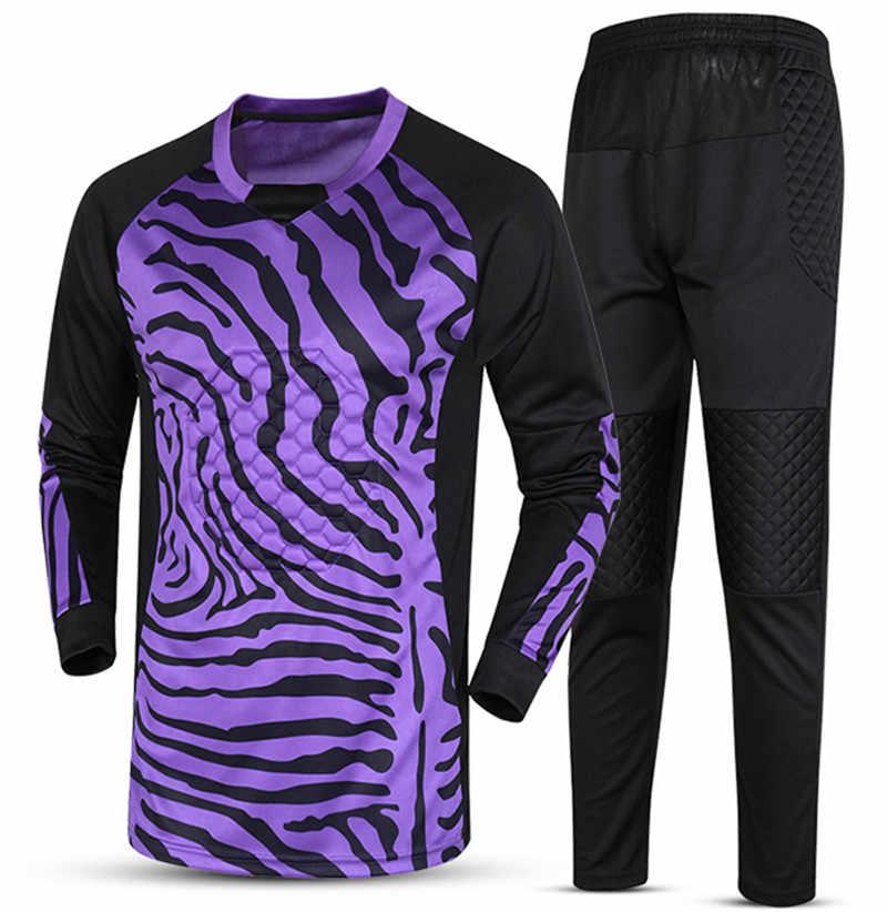 2018新しい通気性クイックドライ男の子子供サッカートレーニングスーツゴールキーパーユニフォームセットsurvetementサッカーシャツパンツ制服