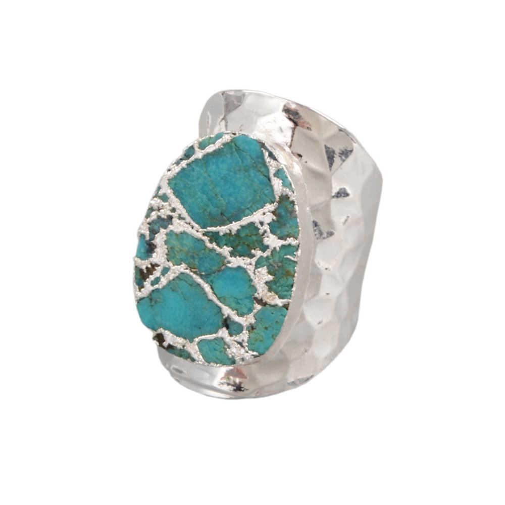 BOROSA ทองแดง Turquoises แหวนคลาสสิกสไตล์หินธรรมชาติสีฟ้า Howlites Party แหวนผสมสี Dropshipping
