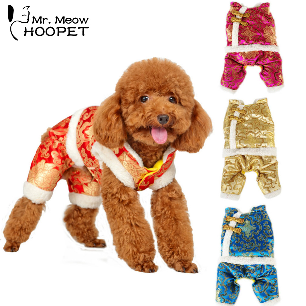 Dog Cat Four-leg Jumpsuit Chinese Traditional Costume Padded Pet Warm New Year Chinese Tang Suit Fleece Lined Coat Jacket