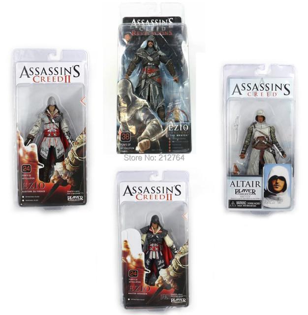 NECA Juguetes ASSASSINS CREED 1/2/3 generación Ezio Altair Hartel PVC Figuras de Acción Modelo de 7 pulgadas 4 estilos para elegir regalo de cumpleaños