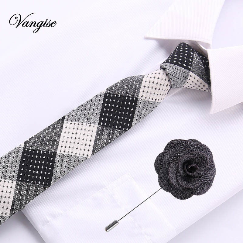 European Men's Cotton  Necktie Ties Skinny Dot Narrow Knitted Tie Casual Plaid Bow Tie&brooch Set  England Cravat