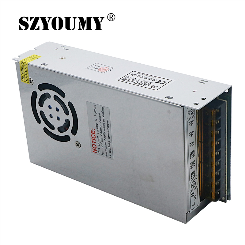 SZYOUMY 10PCS LED Driver Power Supply AC110-220V to 12V 25A 12V 60A With Radiator Fan LED Adapter for LED Strip Light or CCTV