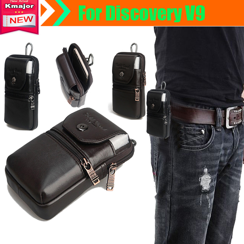 Genuine Leather Carry Belt Clip Pouch Waist Purse bag Case Cover for Discovery V9 Waterproof SmartPhone