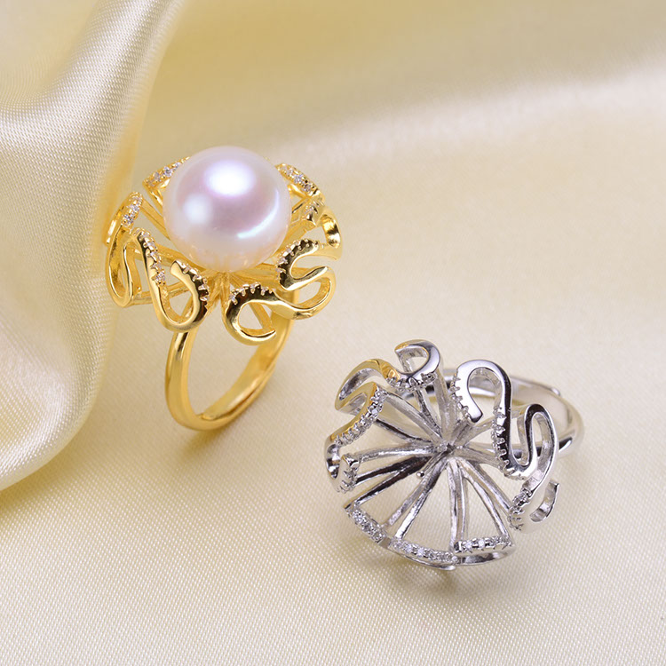 2 Color 925 Sterling Silver Pearl Ring Finger Ring Setting Adjustable Ring Findings Jewelry Parts Fittings Accessories, 3pcs/lot
