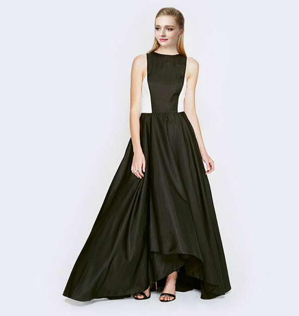 New Designer Satin High Low Black and White Prom Dress A Line ...
