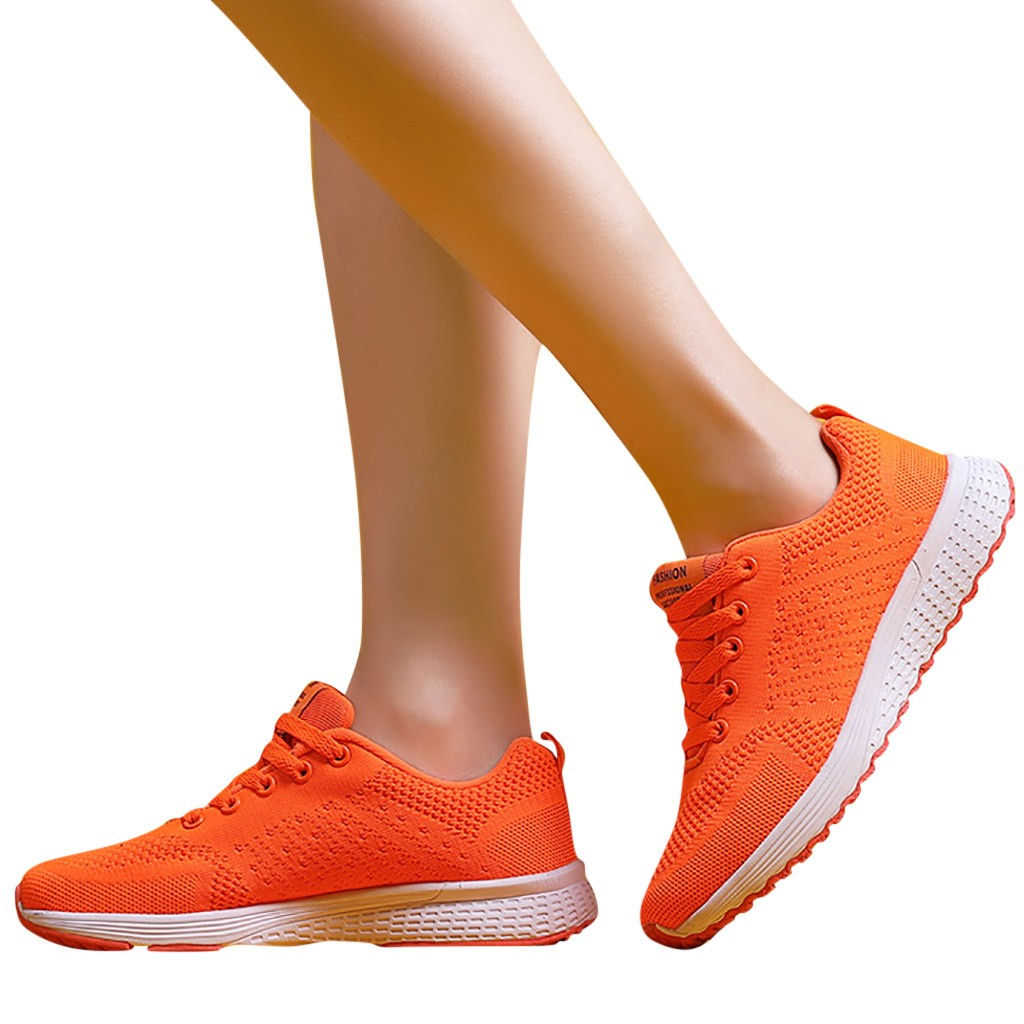 Running Shoes Orange Women's Fashion Casual Breathable Flying Weaving Shoes Mother Walking Sport  Sneaker Shoes For Student