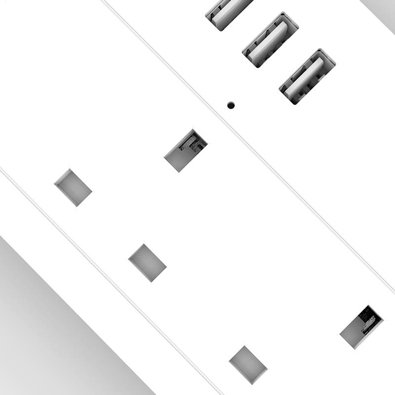 Padrão 100 240 v 13a do reino unido da tira de energia de aofo wifi avaliado tomada de extensão inteligente alexa e google casa tuya app usb - 6