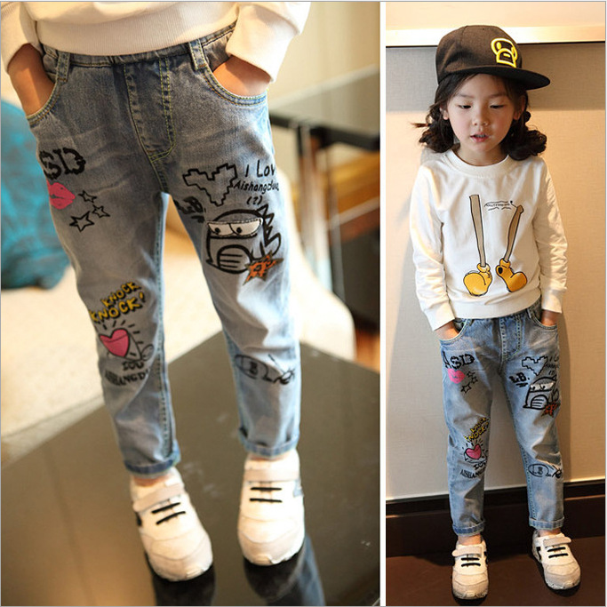 7bdb8fe40 Children Doodle Pants Trousers Girls jeans Brand Baby Boys Jeans 2 ...