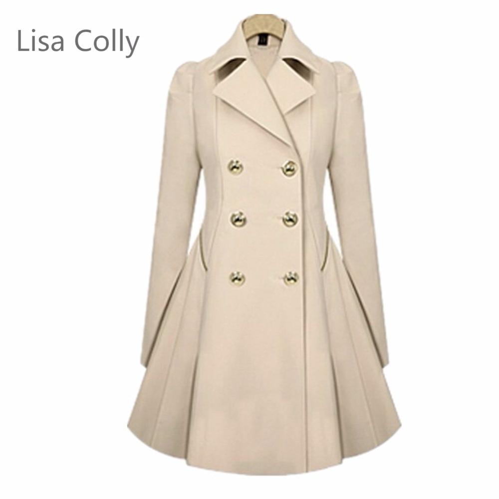 Lisa Colly Women's Long Coats Fasinon Spring Autumn Casual Ladies