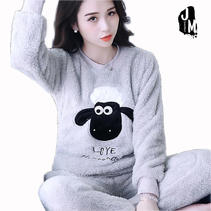 2017 Winter   Pajama   Women Flannel Animal   Pajama     Sets   Female Sleepwear Bear/ Girl/ Coral Fleece night suit XXL