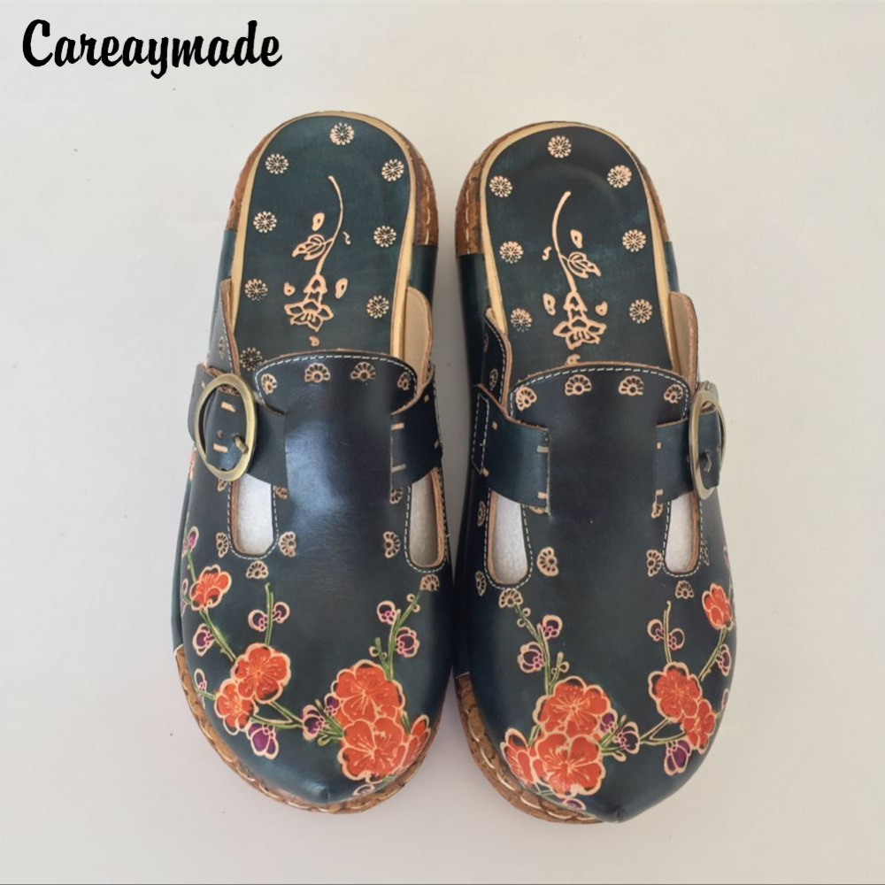 CareaymadeFolk style Head layer cowhide pure handmade Carved shoes the retro art mori girl shoes Women