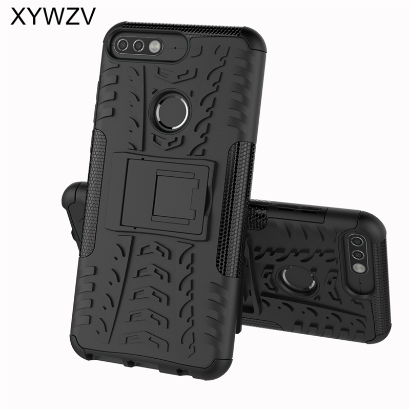 sFor Coque Huawei Y7 Prime 2018 Case Shockproof Hard PC Silicone Phone Case For Huawei Honor 7C Cover For Huawei Y7 Prime 2018-in Fitted Cases from Cellphones & Telecommunications