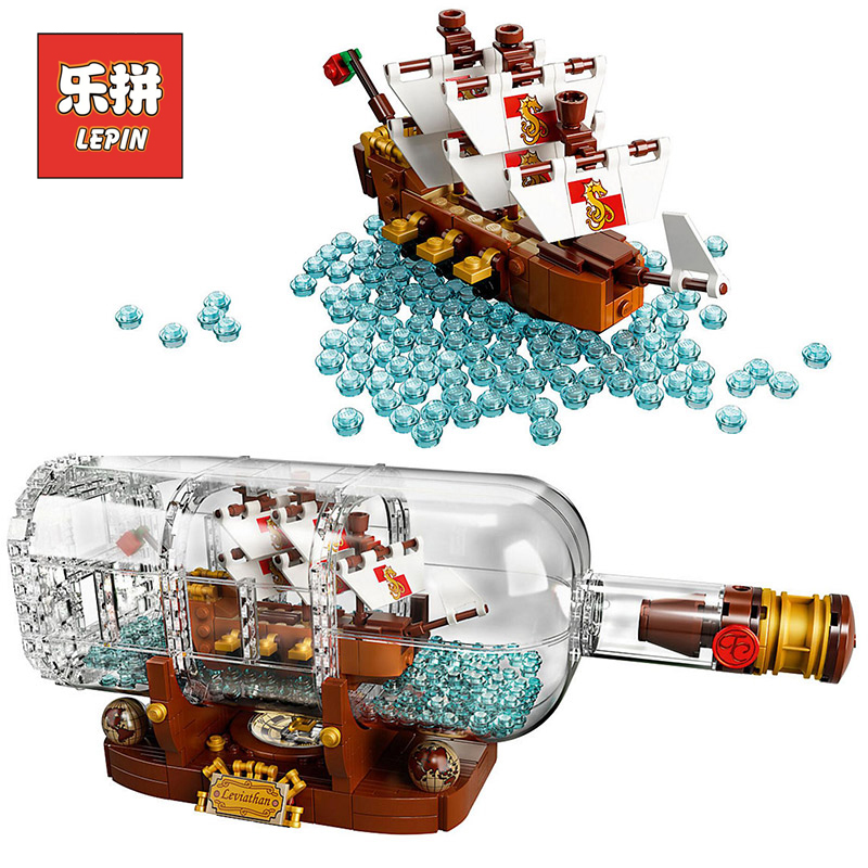 Lepin 16051 Ideas Ship in a Bottle Set Model Creative Building Blocks Bricks Legoings 21313 Children Educational Collection Toys lepin 16051 1078pcs movie series the 21313 pirate ship in a bottle set building blocks bricks toys birthday gifts