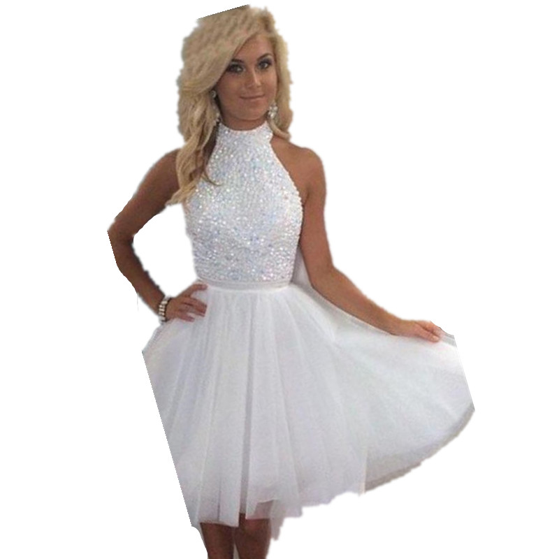 Short White Prom Dress Ivory with Crystals and Beads Short ...