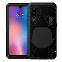 ForXiaomi9 9T Phone Case Hard Aluminum Metal Tempered Glass Screen Protector Full Cover Heavy Duty Protection cover