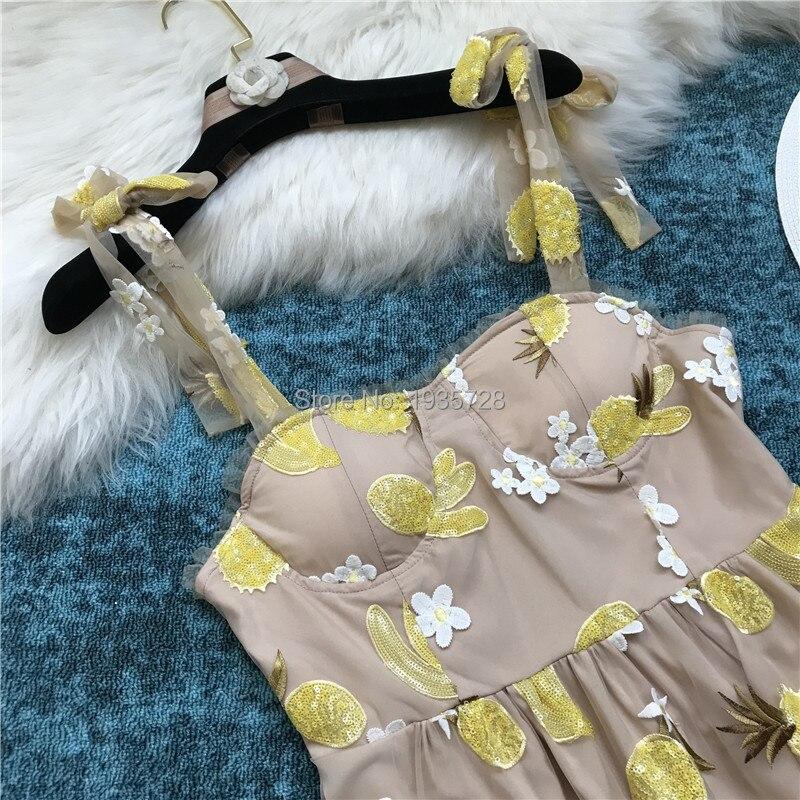 Brodé Mini Bretelles Manches Paillettes Tulle 2018 Kaki Mode Fleurs Courte Femme Robe Liée Amoureux Fruits D'été Sans xUC0pUq
