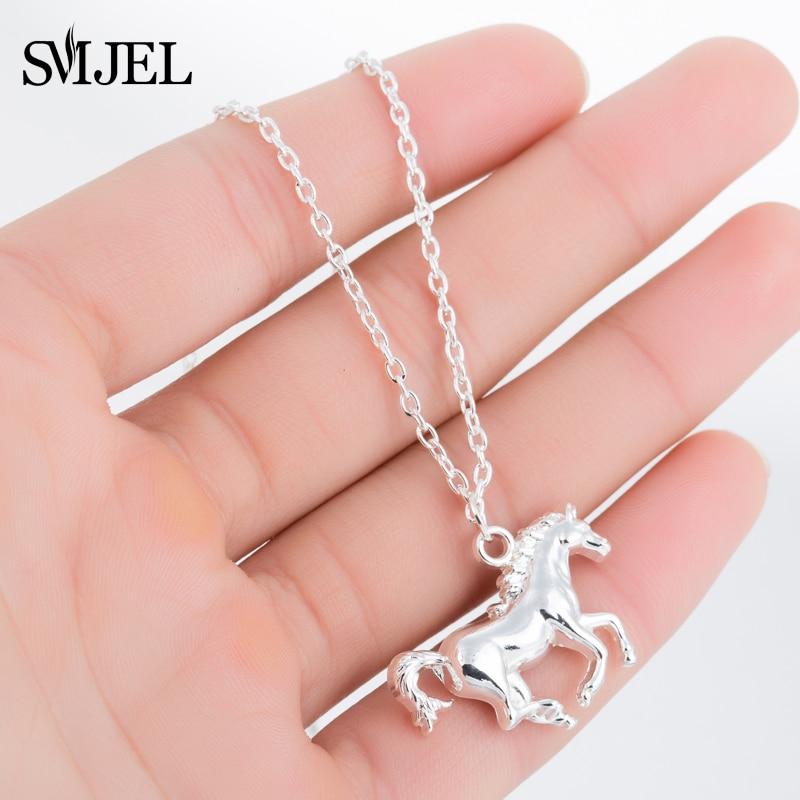 Ожерелье SMJEL для мужчин и женщин, металлическая подвеска в виде лошади, гоночная лошадь, чокер, цепочка, серебряные ювелирные изделия