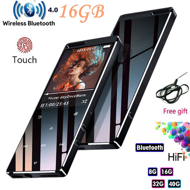 Bluetooth4.1 MP3 נגן 16 GB מגע מפתח 1.8 אינץ צבע מסך מוסיקת Lossless תמיכת FM, הקלטה, תמיכת SD עד 128 GB