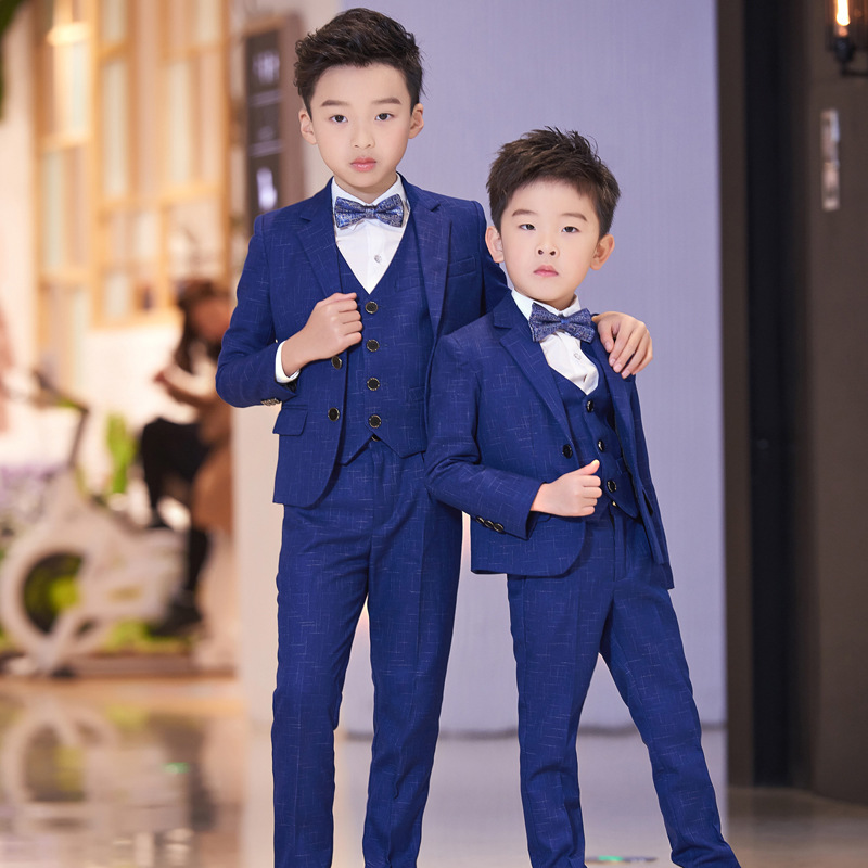 T033 New Small children suit Coat boy baby Autumn leisure  Blazer+Shirts+Pants+Bowtie 4pcs Boy Suit
