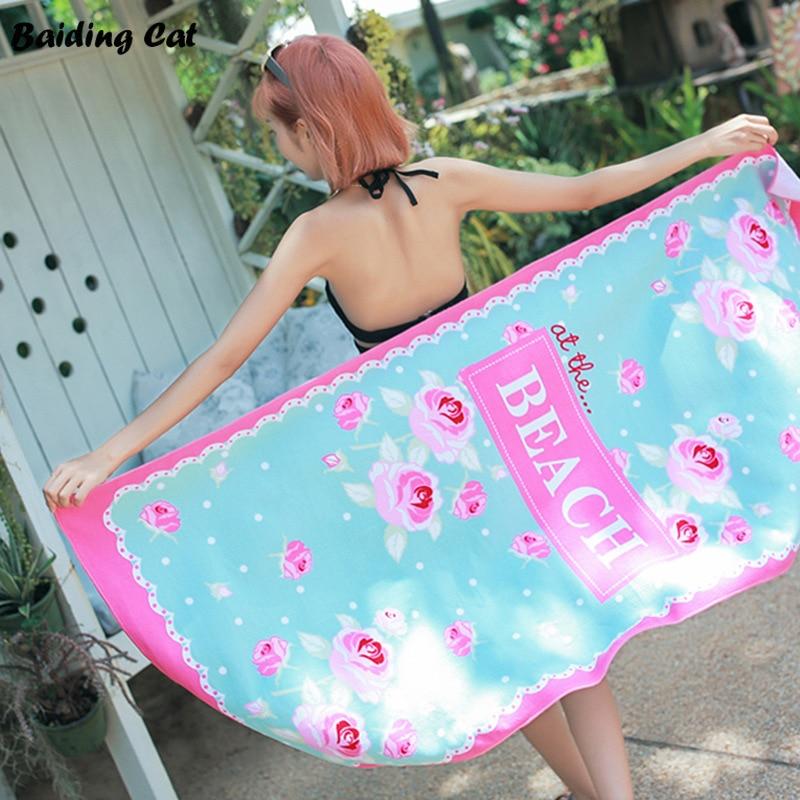 Pink Flowers Printed Large Men/Women Summer Beach Towels 150*70cm Microfiber Bath Towel Camping Yoga Towels Bathroom Hot Sale