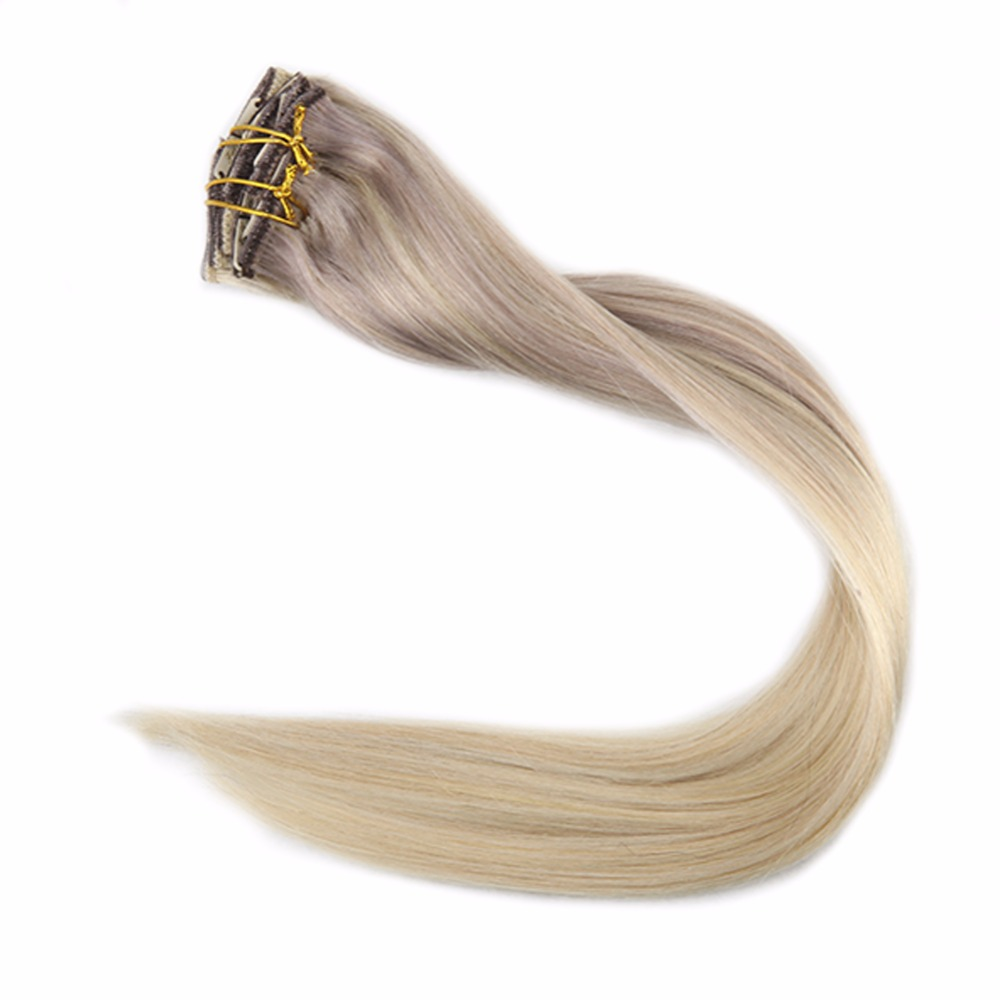Full Shine Clip In Extensions Balayage Ombre Color 18 Fading To 22 And 60 Nordic 7Pcs