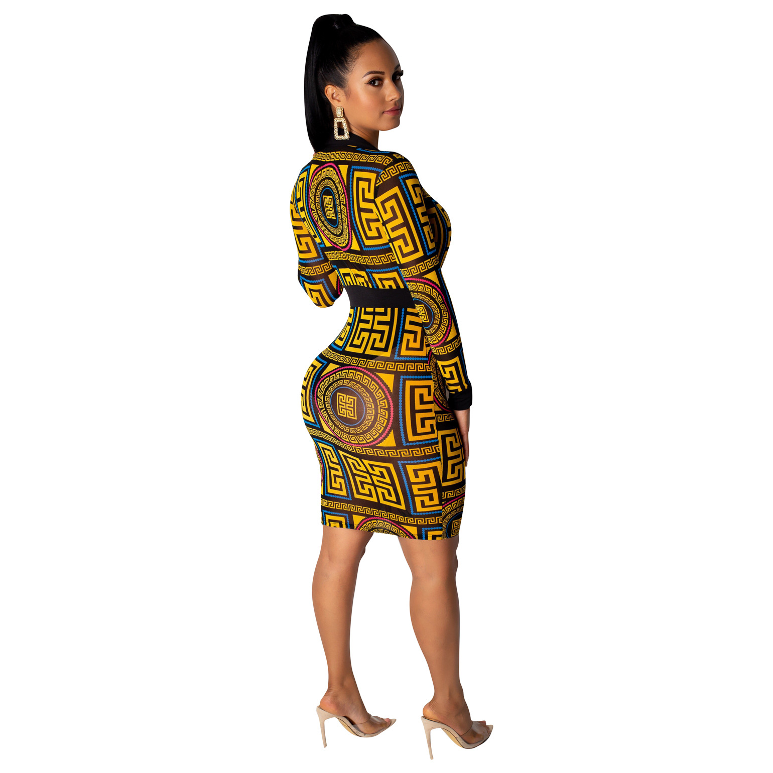 2019 Summer Fashion New North American Style Women's Long-sleeve Sexy Transparent Mesh Print Waist Lapel Long-sleeve Yellow Dres