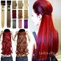 """26 """" 66 cm clipe reta em extensões do cabelo Real de boa qualidade 3/4 Full cabeça 1 PC Cosplay azul roxo rosa laranja cinza peruca"""