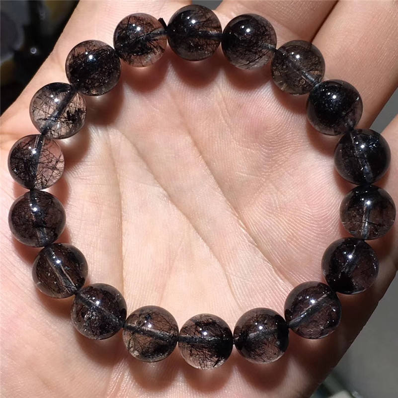 11.5mm Natural Black Hair Rutilated Quartz Bracelet Women Men Love New Gift Gemstone Stretch Fashion Round Crystal Beads Jewelry11.5mm Natural Black Hair Rutilated Quartz Bracelet Women Men Love New Gift Gemstone Stretch Fashion Round Crystal Beads Jewelry