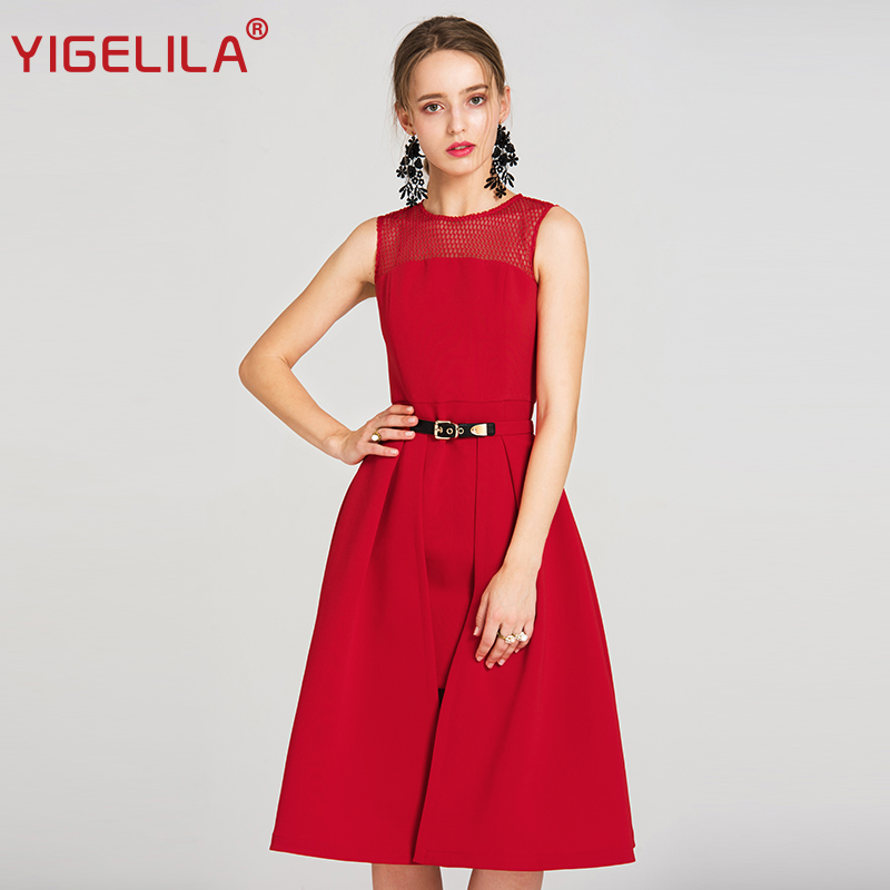 YIGELILA 2019 Latest Spring Women Solid Casual O neck Sleeveless 2 Pieces Set Red Grid Hollow