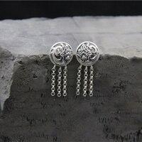 S925 sterling silver female stud earrings hollow round with long tassel ear spike silver earrings hypoallergenic accessories