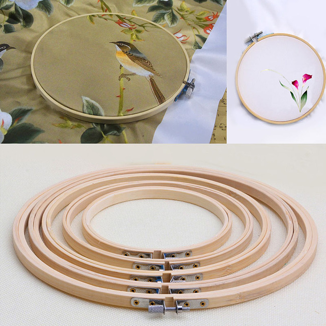 2017 Wooden Cross Stitch Machine Embroidery Hoop Ring Bamboo Sewing 13-27cm