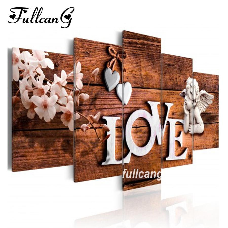 FULLCANG Full Square Diamond Embroidery Love And Angel Diy 5pcs Diamond Painting Cross Stitch Mosaic 5d Needlework Kits D492