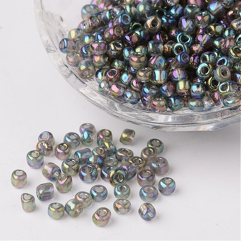 6/0 Transparent Rainbow Colours Round Glass Seed Beads,for Jewelry DIY Dark Gray,about 4mm in diameter,hole:1.5mm,about 495pcs
