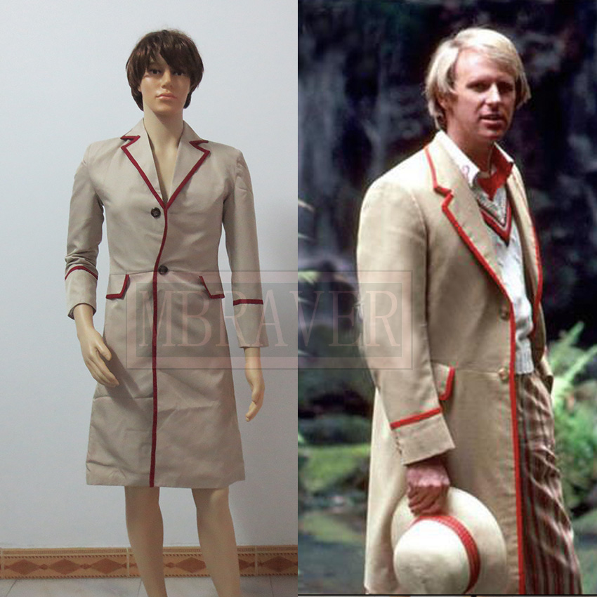 Doctor Who Cosplay Who Is Doctor 5th Roja Red Stripe Beige Coat Mens Cosplay Costume